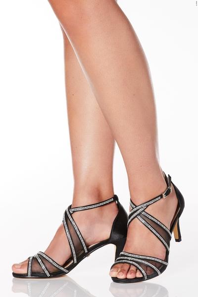 Wide Fit Black Satin Diamante Mesh Low Heel Sandals